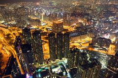 Cityscape of Hong Kong at night Stock Photos