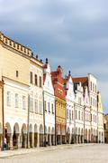 renaissance houses in Telc, Czech Republic - stock photo
