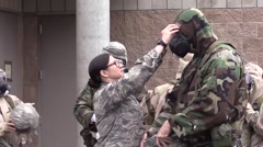 CALIFORNIA, MARCH 2016, Female US Soldier Controlls Gas Mask Stock Footage