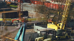 Uploading goods by cranes in the port of Odessa - stock footage