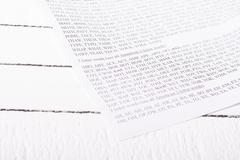 Sheet with words from entertaining game, sorted by number of letters. Stock Photos