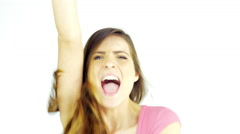 Beautiful woman jumping and shouting yes excited happy - stock footage