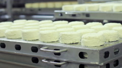 Worker put the pallet with cheese ready for packaging on pallets at milk factory Stock Footage