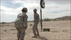 ARIZONA USA, MARCH 2016, US Soldier Fix Wire Satelite Antenna - stock footage
