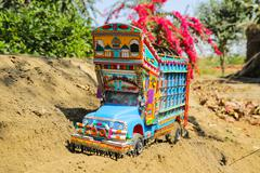 Miniature Hand made Truck Pakistan - stock photo