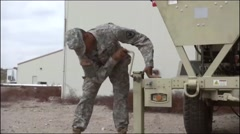 ARIZONA USA, MARCH 2016, US Soldier Use Crank Fix Truck Stock Footage