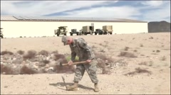 ARIZONA USA, MARCH 2016, US Soldier Hammer Nail Ground Stock Footage