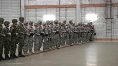 MASSACHUSETTS USA, MARCH 2016, US Canadian Soldier Military Police Training Step Stock Footage