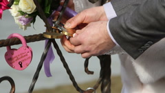 Newlyweds closed lock Stock Footage