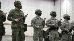 MASSACHUSETTS USA, MARCH 2016, Trainer Controll US Canadian Military Police Stock Footage
