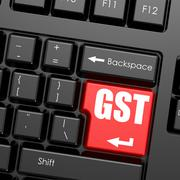 Red enter button on computer keyboard, GST word - stock illustration