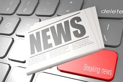 Computer keyboard with word breaking news - stock illustration