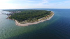 AERIAL: Hel peninsula on the Baltic Sea Stock Footage