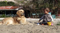Child smiles to a dog Stock Footage