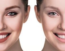 Comparative portrait of female face - stock photo