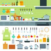 Kitchen interior with moder devices - stock illustration