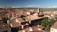View to the historical center of the medieval town of Montblanc, Spain. Stock Footage