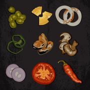 ingredients for cooking - stock illustration