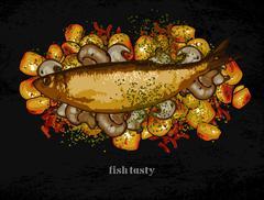 fish dish with a garnish - stock illustration