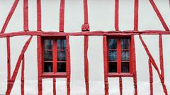 Half-timbered house detail - stock photo