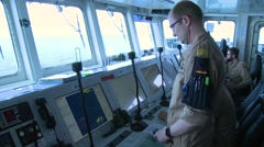 AEGEAN SEA, MARCH 2016, Captain German Fregatte Bonn Display Stock Footage