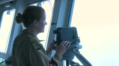 AEGEAN SEA, MARCH 2016, Female Marine Soldier Lookout Stock Footage