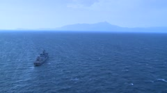AEGEAN SEA, MARCH 2016, Long Shot Greek Frigate Salamis At Sea Coast Stock Footage