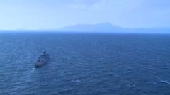 AEGEAN SEA, MARCH 2016, Long Shot Greek Frigate Salamis At Sea Coast - stock footage