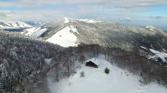 Aerial view of snowy Pyrenees mountains - stock footage