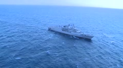 AEGEAN SEA, MARCH 2016, Long Shot Greek Frigate Salamis At Sea Stock Footage