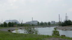 Pond cooler near the Chernobyl nuclear power plant. - stock footage