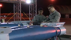 FORT WALTON USA, MARCH 2016, Close Up US Soldiers Check Fixation Rockets Trailer - stock footage