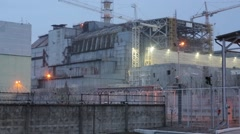 The fourth block of the Chernobyl nuclear power plant. - stock footage