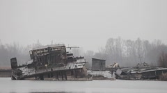 Sunken water ships in the Chernobyl exclusion zone. - stock footage