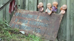 Dolls abandoned in the Chernobyl zone. - stock footage
