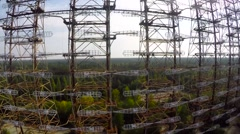 "Soviet horizon radar station ""Duga"" in the Chernobyl exclusion zone. - stock footage"