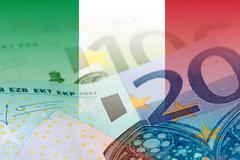 Italy flag with euro banknotes Stock Illustration