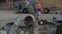 FORT WALTON USA, MARCH 2016, Full Shot US soldier Check Rocket Fuse - stock footage