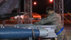 FORT WALTON USA, MARCH 2016, Close Up US Soldiers Loose Fixation Rockets Trailer - stock footage