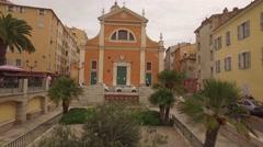 Aerial Drone Corsica Ajaccio Church Stock Footage