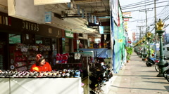 Thailand shoe shop street perspective Stock Footage
