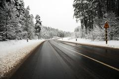 winter road ,  track. - stock photo