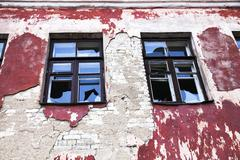 Windows in an abandoned building Stock Photos