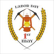 May 1st. Labor Day. Crossed picks and lantern - stock illustration