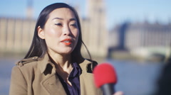 4K Businesswoman or politician giving live interview to reporter in London - stock footage
