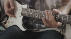 Professional Guitarist Playing Solo On Electric Guitar At Home Studio - stock footage