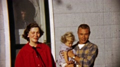 1959: Loving parents physically handicapped Down's syndrome girl. Stock Footage