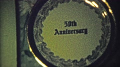 1959: 50th anniversary wedding inscribed silver platter gift. Stock Footage