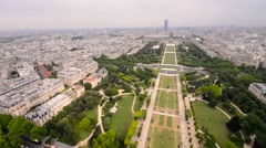 Aerial view of Paris from Eiffel Tower Stock Footage