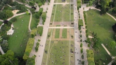 Champs de Mars aerial view with tourists relaxing Stock Footage